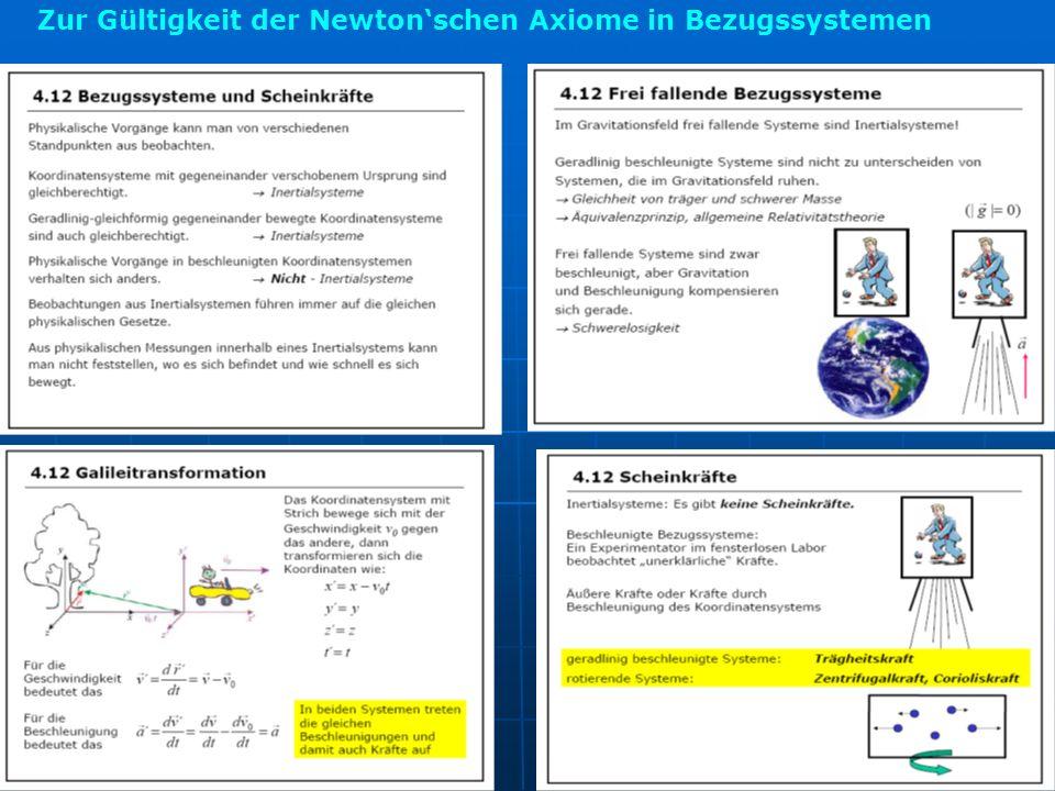 Zur Gültigkeit der Newton'schen Axiome in Bezugssystemen