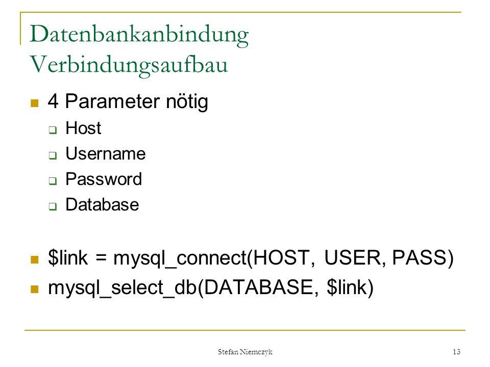 Datenbankanbindung Verbindungsaufbau