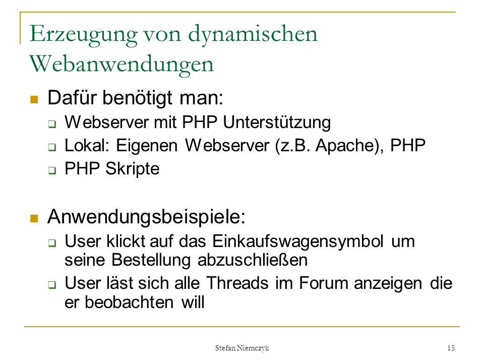 Erzeugung von dynamischen Webanwendungen