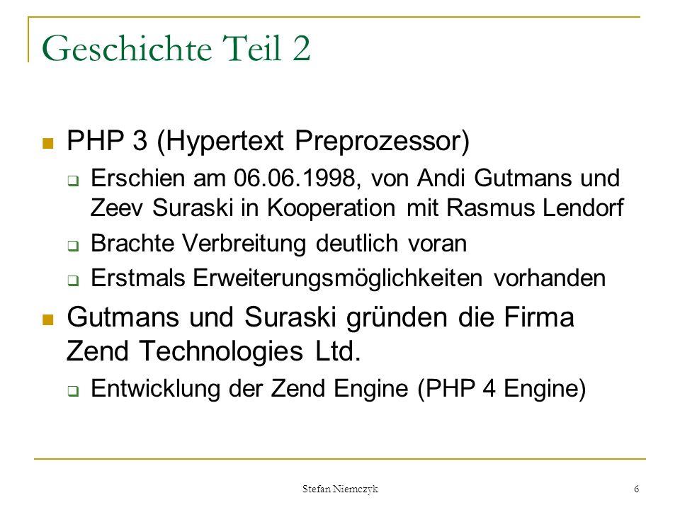 Geschichte Teil 2 PHP 3 (Hypertext Preprozessor)