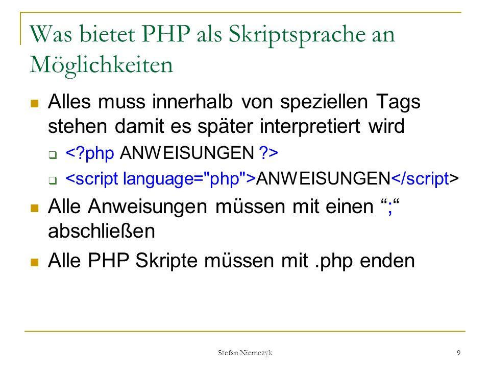 Was bietet PHP als Skriptsprache an Möglichkeiten