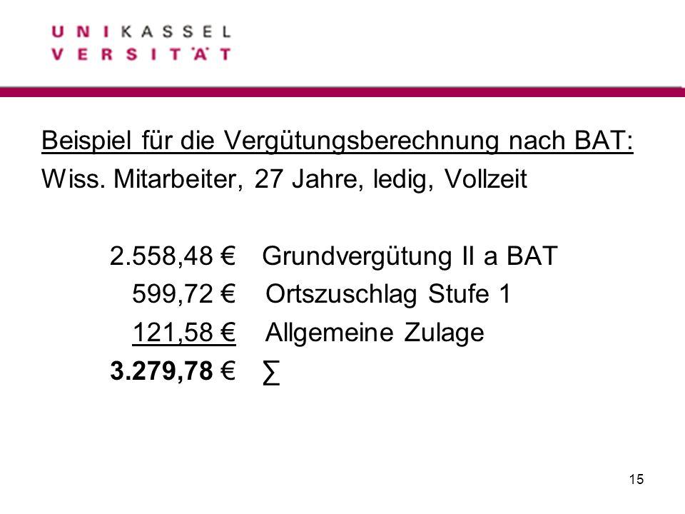 Beispiel für die Vergütungsberechnung nach BAT: