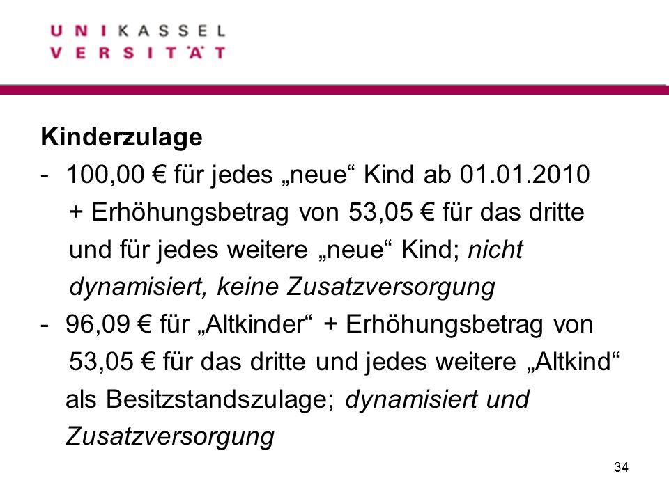 """Kinderzulage 100,00 € für jedes """"neue Kind ab 01.01.2010. + Erhöhungsbetrag von 53,05 € für das dritte."""