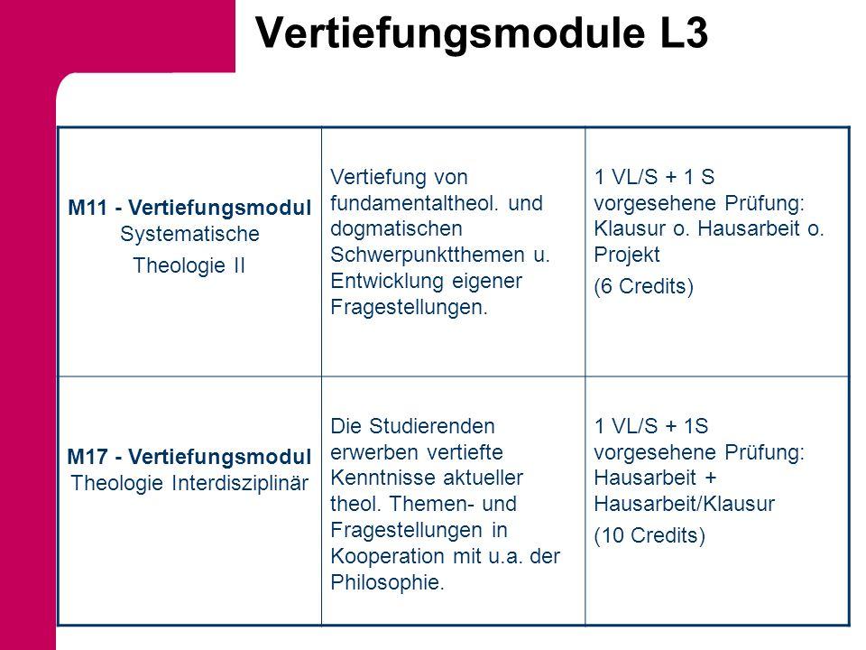 Vertiefungsmodule L3 M11 - Vertiefungsmodul Systematische Theologie II