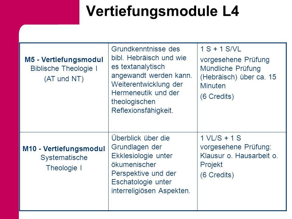 Vertiefungsmodule L4 M5 - Vertiefungsmodul Biblische Theologie I