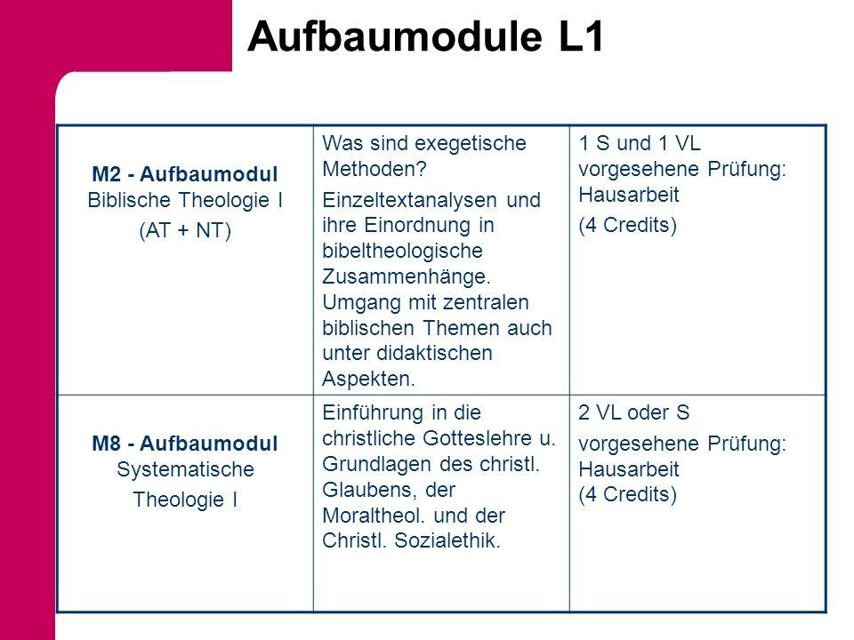 Aufbaumodule L1 M2 - Aufbaumodul Biblische Theologie I (AT + NT)
