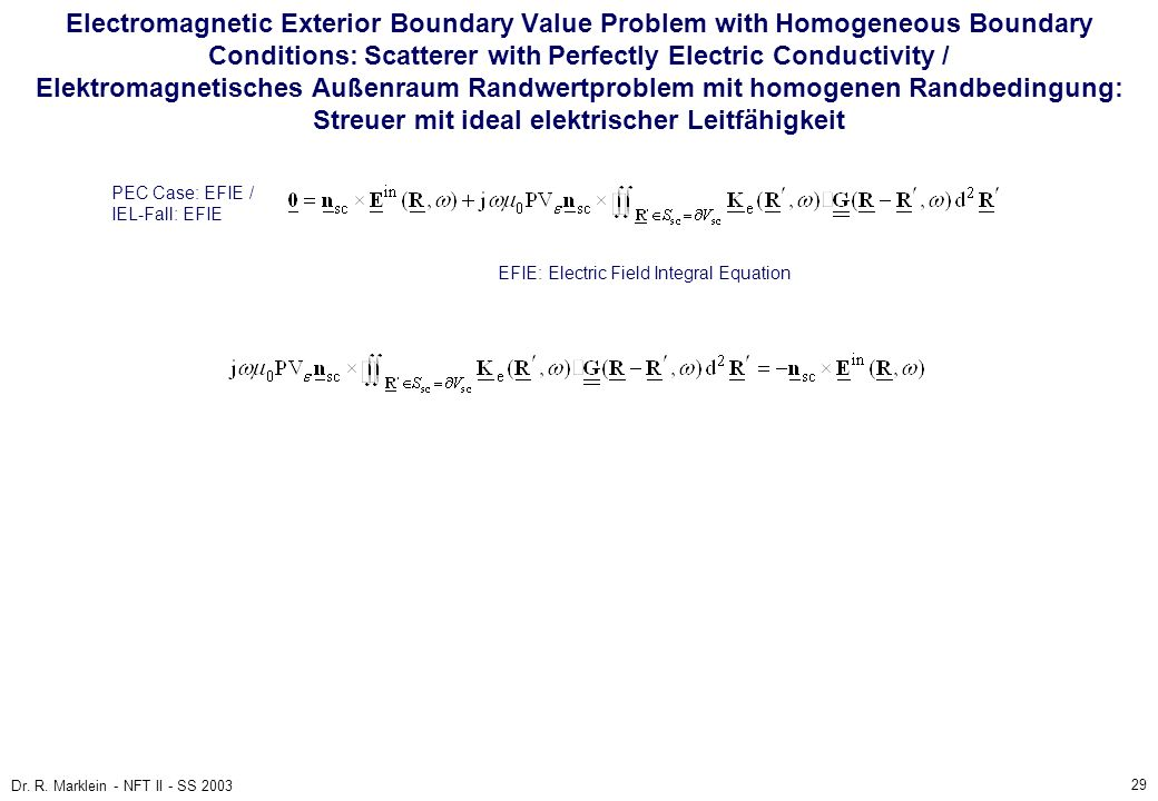 Electromagnetic Exterior Boundary Value Problem with Homogeneous Boundary Conditions: Scatterer with Perfectly Electric Conductivity / Elektromagnetisches Außenraum Randwertproblem mit homogenen Randbedingung: Streuer mit ideal elektrischer Leitfähigkeit