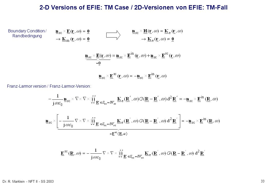 2-D Versions of EFIE: TM Case / 2D-Versionen von EFIE: TM-Fall