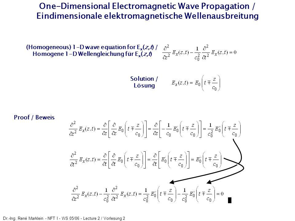 One-Dimensional Electromagnetic Wave Propagation / Eindimensionale elektromagnetische Wellenausbreitung
