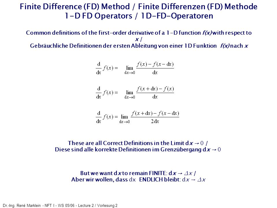 Finite Difference (FD) Method / Finite Differenzen (FD) Methode 1-D FD Operators / 1D-FD-Operatoren