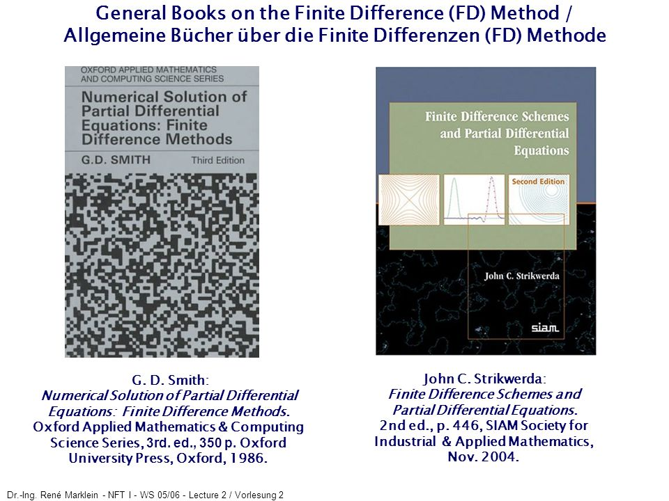 General Books on the Finite Difference (FD) Method / Allgemeine Bücher über die Finite Differenzen (FD) Methode