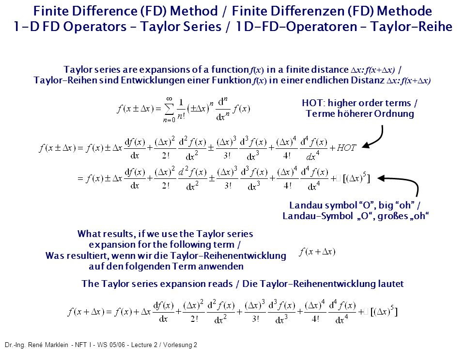 Finite Difference (FD) Method / Finite Differenzen (FD) Methode 1-D FD Operators – Taylor Series / 1D-FD-Operatoren – Taylor-Reihe
