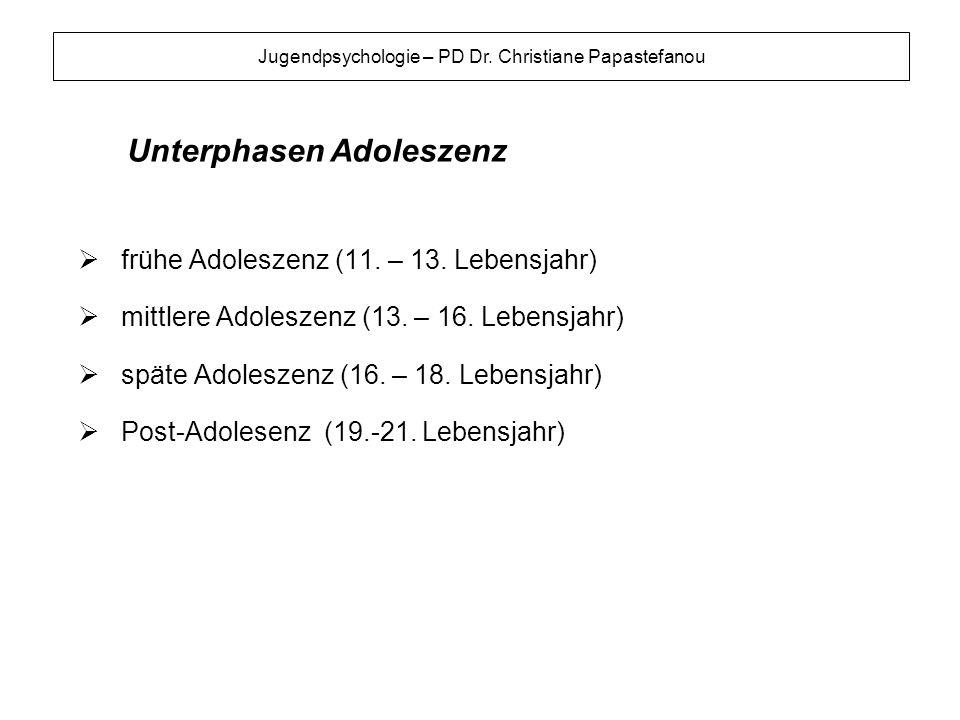 Unterphasen Adoleszenz