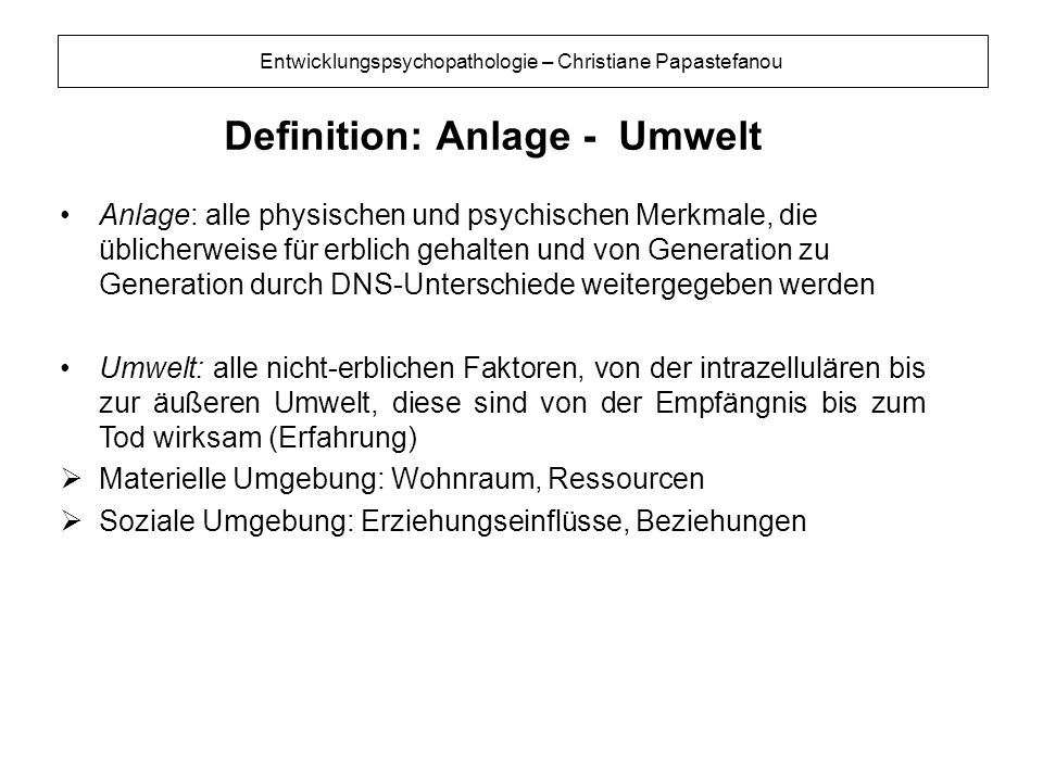 Definition: Anlage - Umwelt