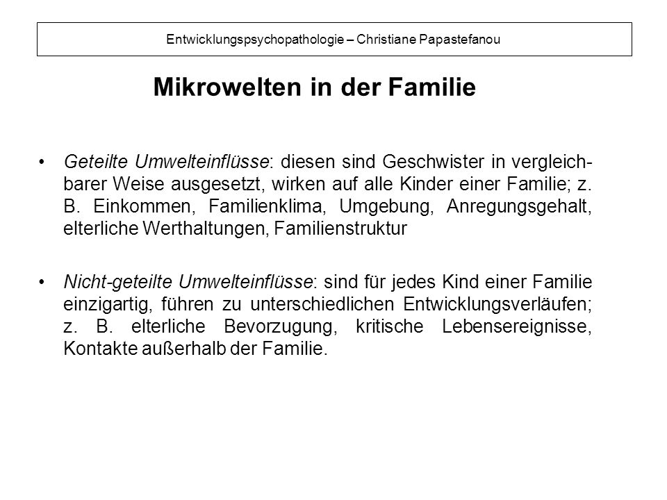 Mikrowelten in der Familie