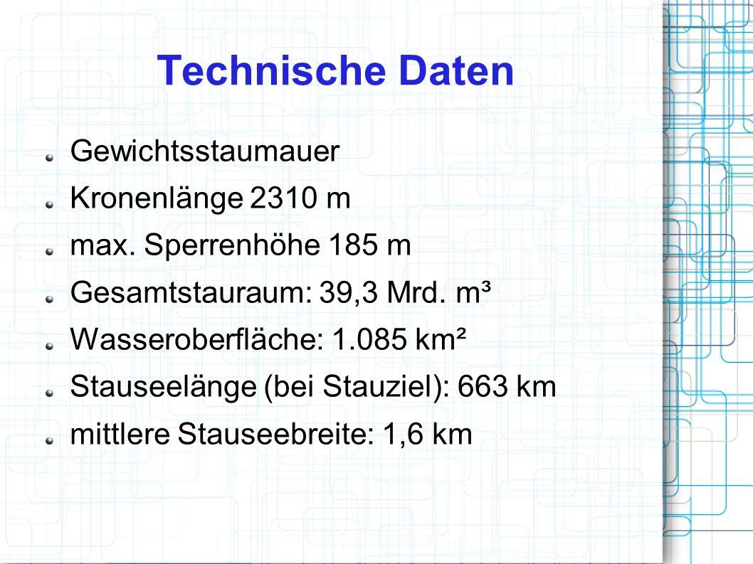Technische Daten Gewichtsstaumauer Kronenlänge 2310 m