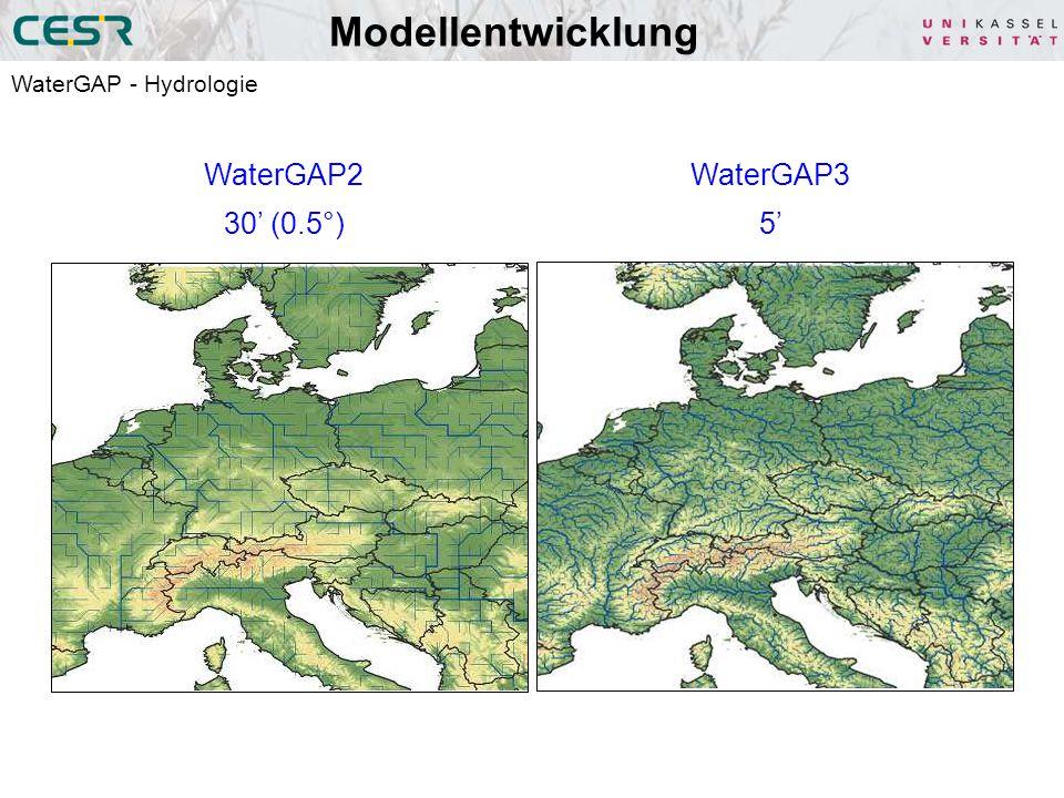 Modellentwicklung WaterGAP2 30' (0.5°) WaterGAP3 5'