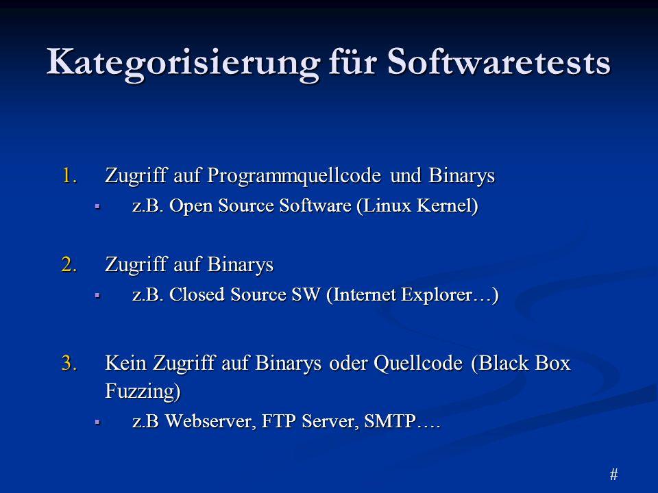 Kategorisierung für Softwaretests