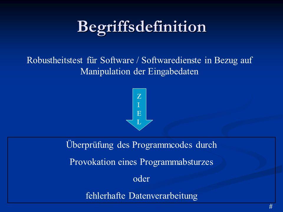 BegriffsdefinitionRobustheitstest für Software / Softwaredienste in Bezug auf Manipulation der Eingabedaten.