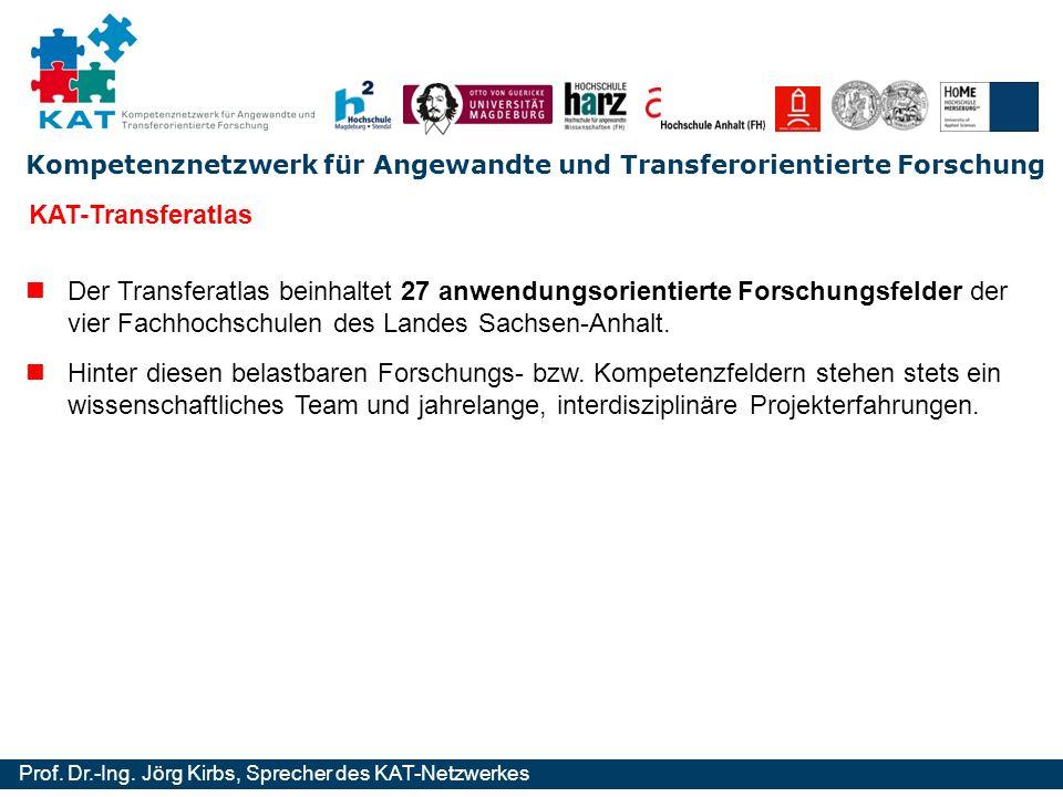 KAT-Transferatlas Der Transferatlas beinhaltet 27 anwendungsorientierte Forschungsfelder der vier Fachhochschulen des Landes Sachsen-Anhalt.