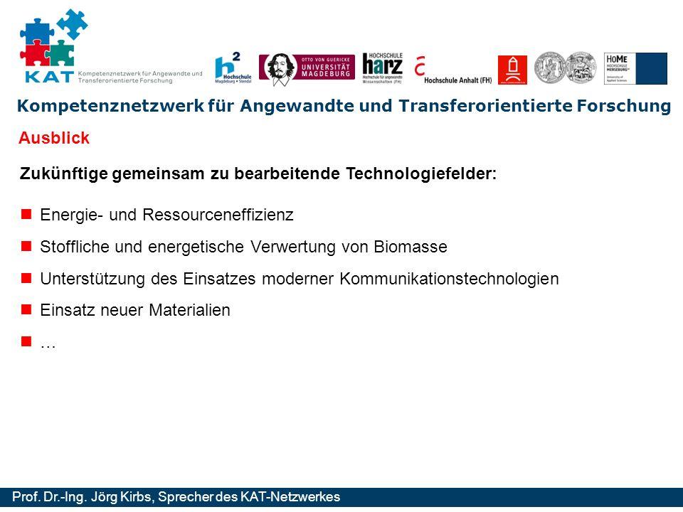 Ausblick Zukünftige gemeinsam zu bearbeitende Technologiefelder: Energie- und Ressourceneffizienz.