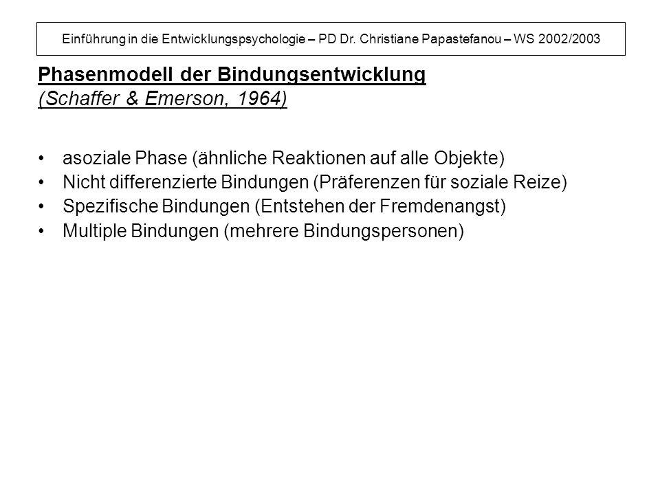 Phasenmodell der Bindungsentwicklung (Schaffer & Emerson, 1964)