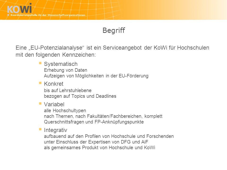 """Begriff Eine """"EU-Potenzialanalyse ist ein Serviceangebot der KoWi für Hochschulen. mit den folgenden Kennzeichen:"""
