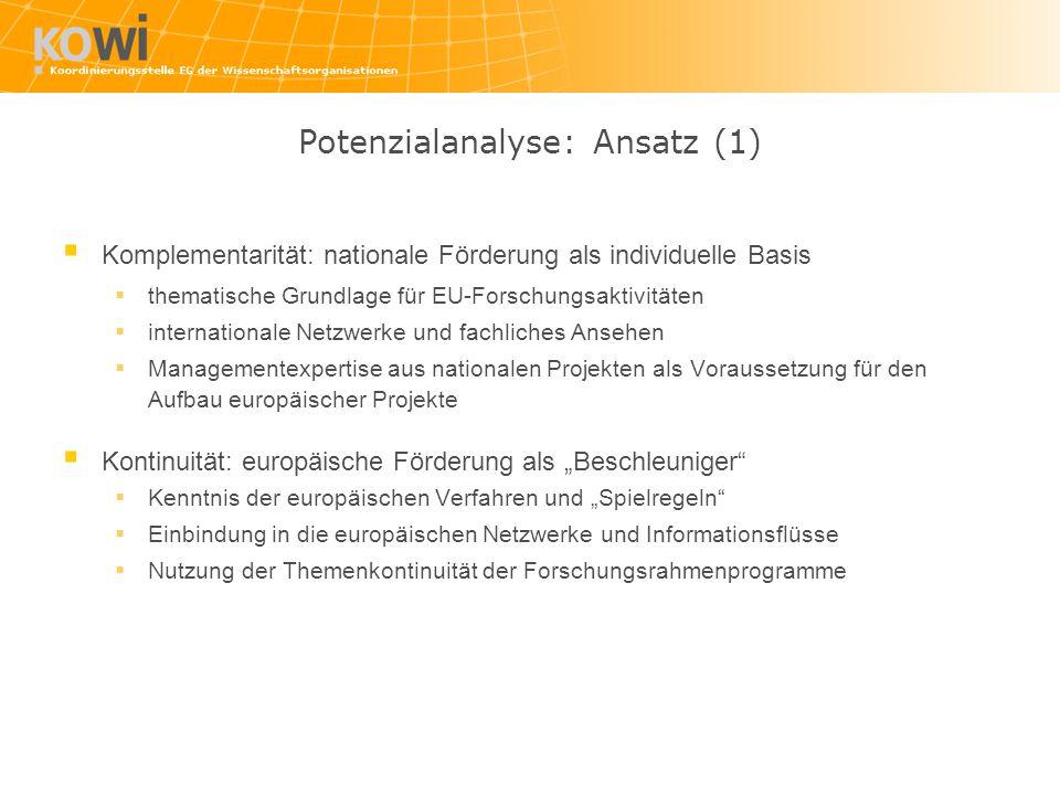 Potenzialanalyse: Ansatz (1)