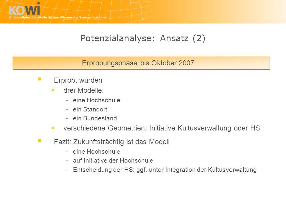 Potenzialanalyse: Ansatz (2)