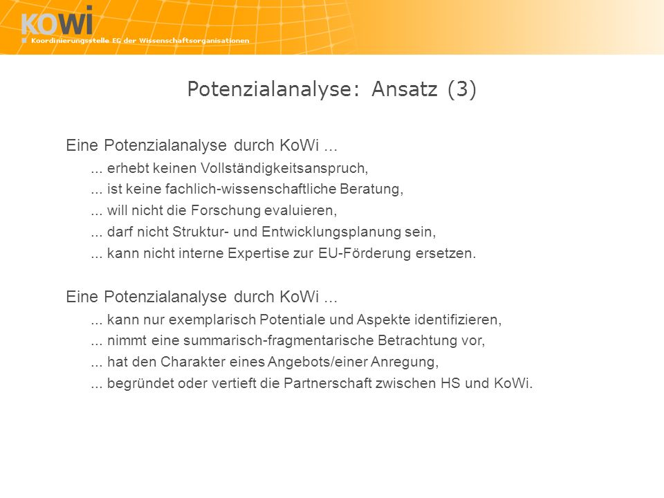 Potenzialanalyse: Ansatz (3)