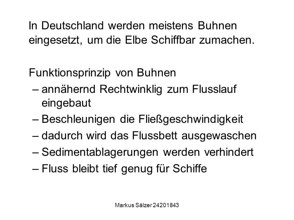 In Deutschland werden meistens Buhnen eingesetzt, um die Elbe Schiffbar zumachen.