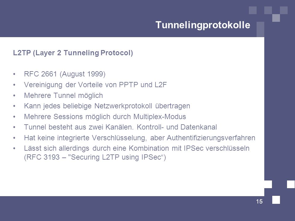 Tunnelingprotokolle L2TP (Layer 2 Tunneling Protocol)