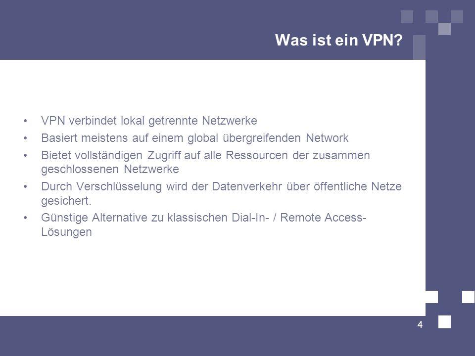 Was ist ein VPN VPN verbindet lokal getrennte Netzwerke