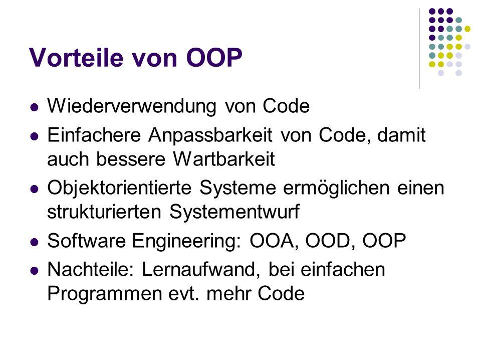 Vorteile von OOP Wiederverwendung von Code