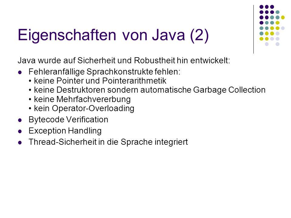 Eigenschaften von Java (2)