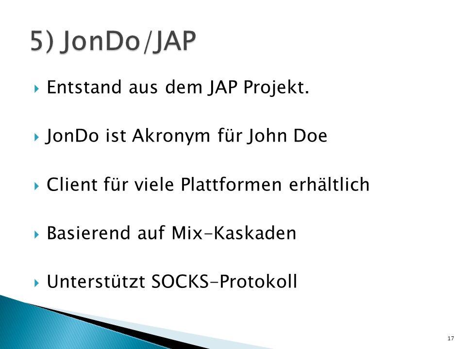 5) JonDo/JAP Entstand aus dem JAP Projekt.