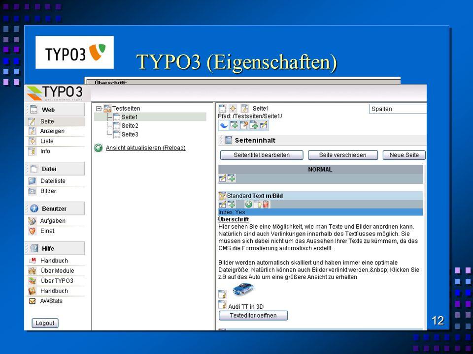 TYPO3 (Eigenschaften) WYSIWYG-Editing Bildmanagement