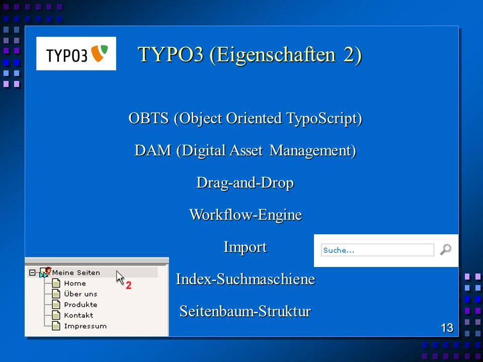 TYPO3 (Eigenschaften 2) OBTS (Object Oriented TypoScript)