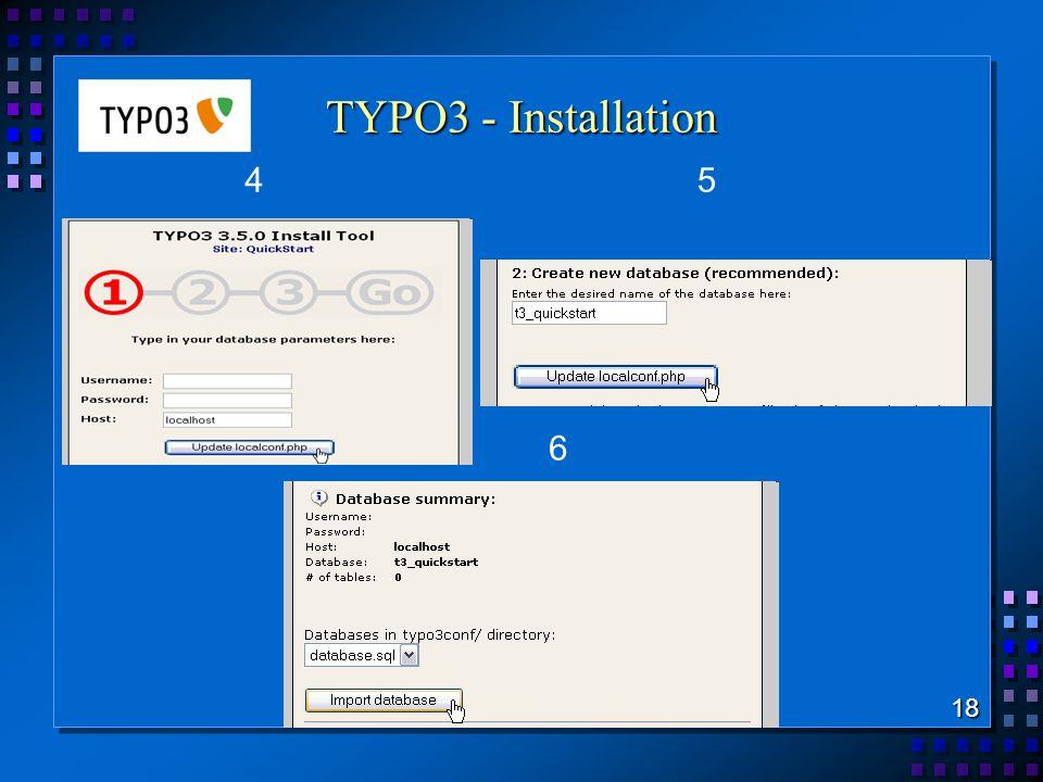TYPO3 - Installation 4 5 6 18