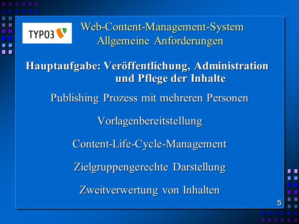 Web-Content-Management-System Allgemeine Anforderungen