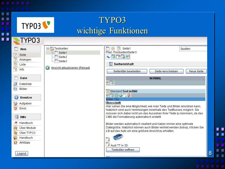 TYPO3 wichtige Funktionen