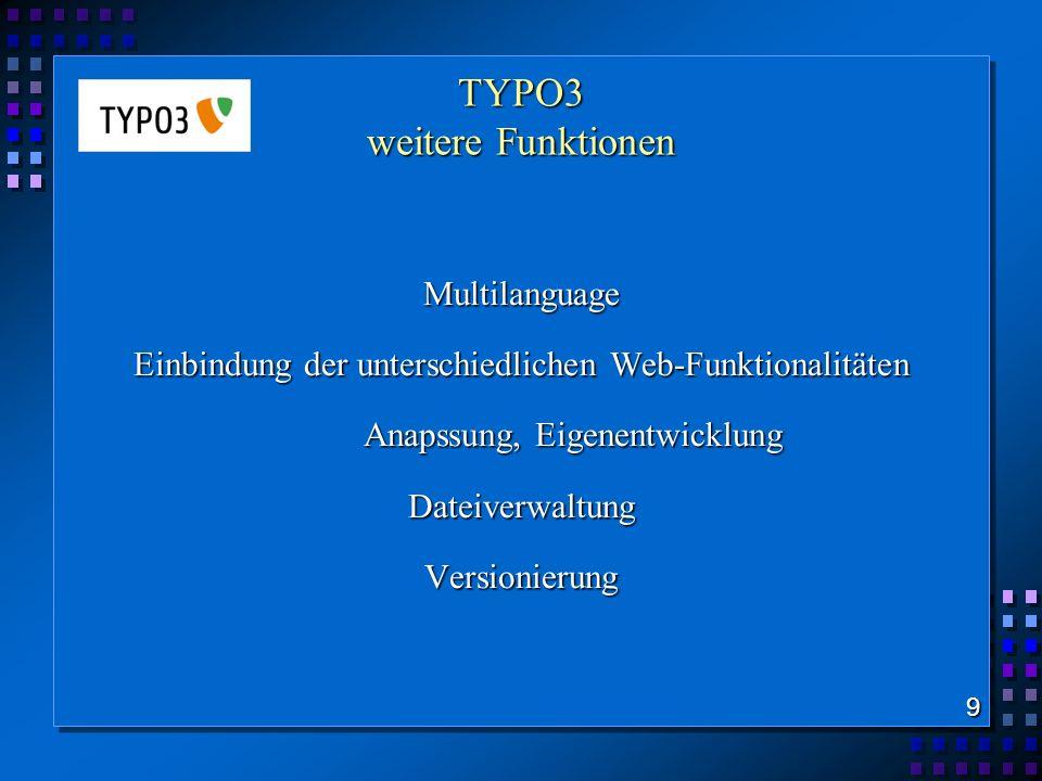 TYPO3 weitere Funktionen