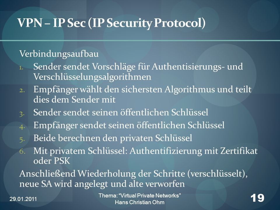 VPN – IP Sec (IP Security Protocol)
