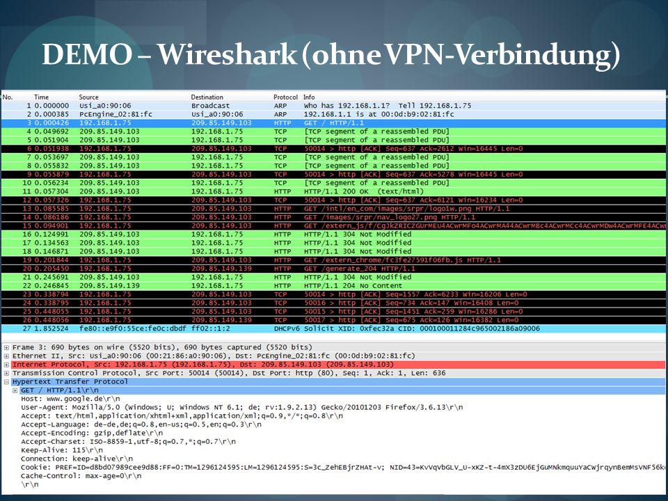 DEMO – Wireshark (ohne VPN-Verbindung)