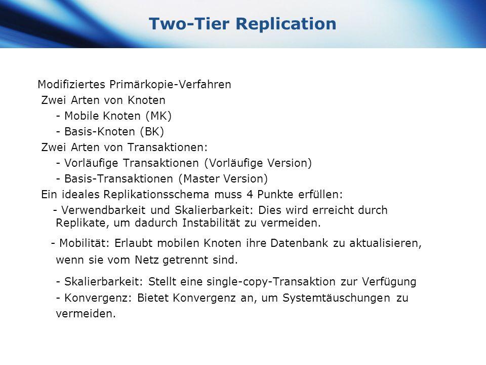 Two-Tier Replication Modifiziertes Primärkopie-Verfahren. Zwei Arten von Knoten. - Mobile Knoten (MK)