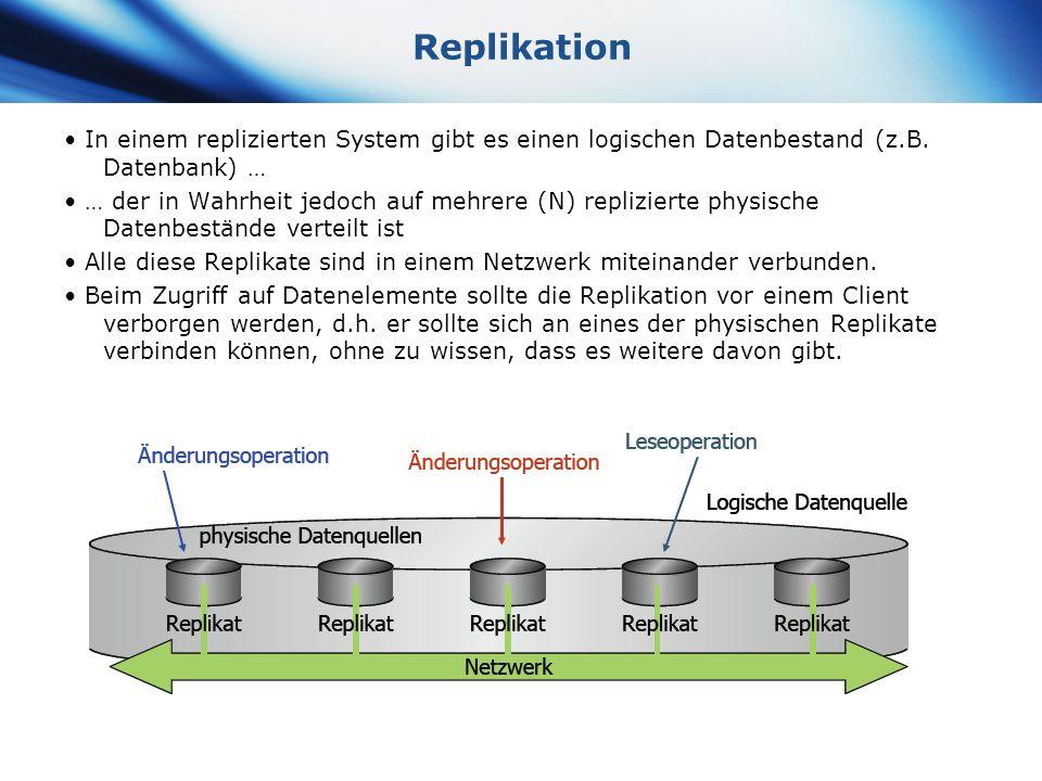 Replikation • In einem replizierten System gibt es einen logischen Datenbestand (z.B. Datenbank) …