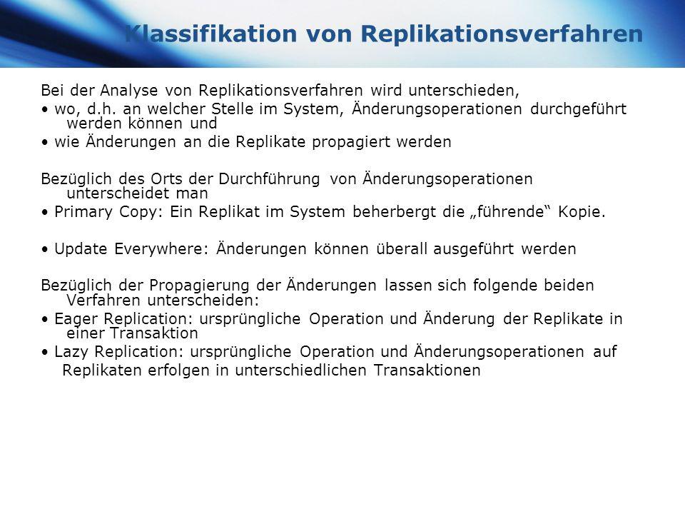 Klassifikation von Replikationsverfahren