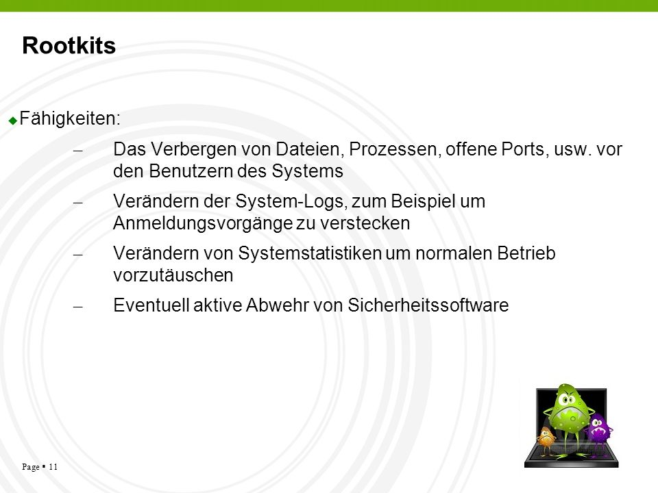 Rootkits Fähigkeiten: