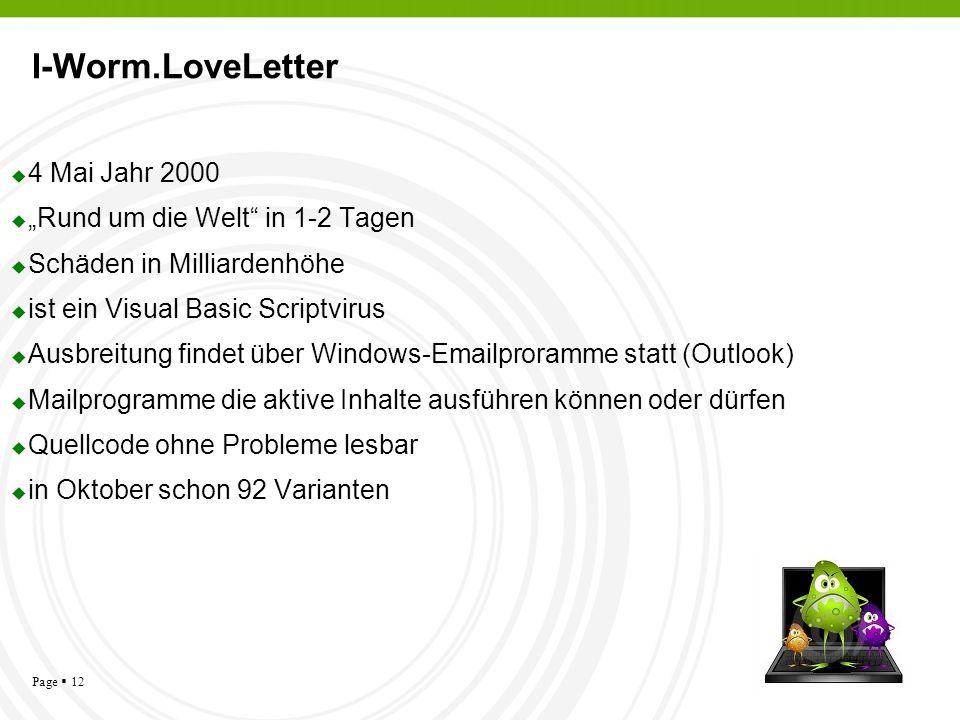 """I-Worm.LoveLetter 4 Mai Jahr 2000 """"Rund um die Welt in 1-2 Tagen"""