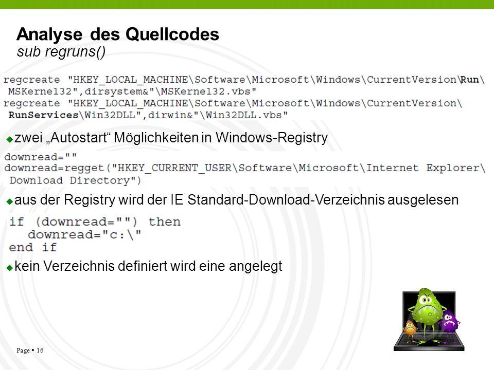 Analyse des Quellcodes sub regruns()